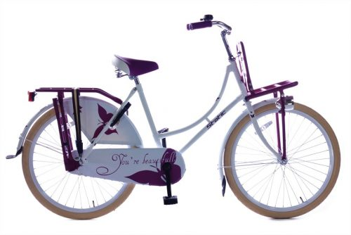 Static omafiets 24 inch wit paars