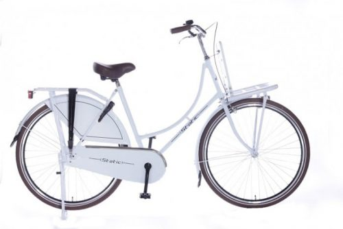 Static omafiets 28 inch + voordrager wit