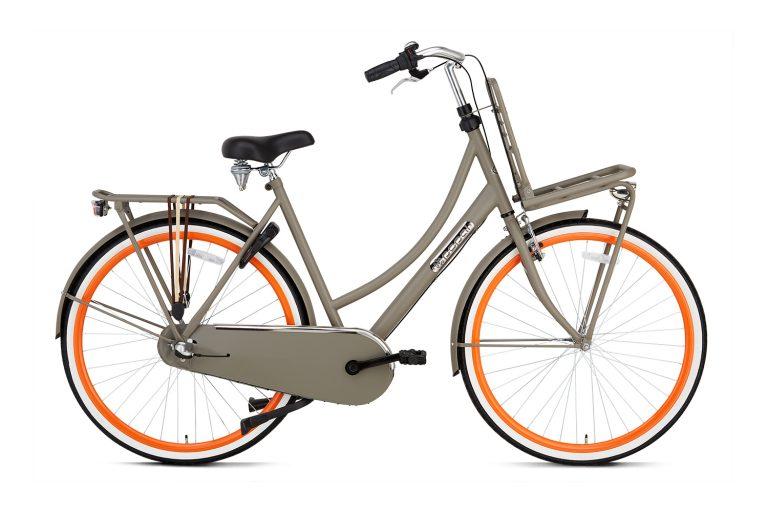 Popal Daily Dutch Basic plus 28 inch dames Transportfiets Grijs Oranje
